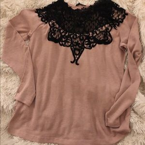 ZARA Contrasting Lace Sweater